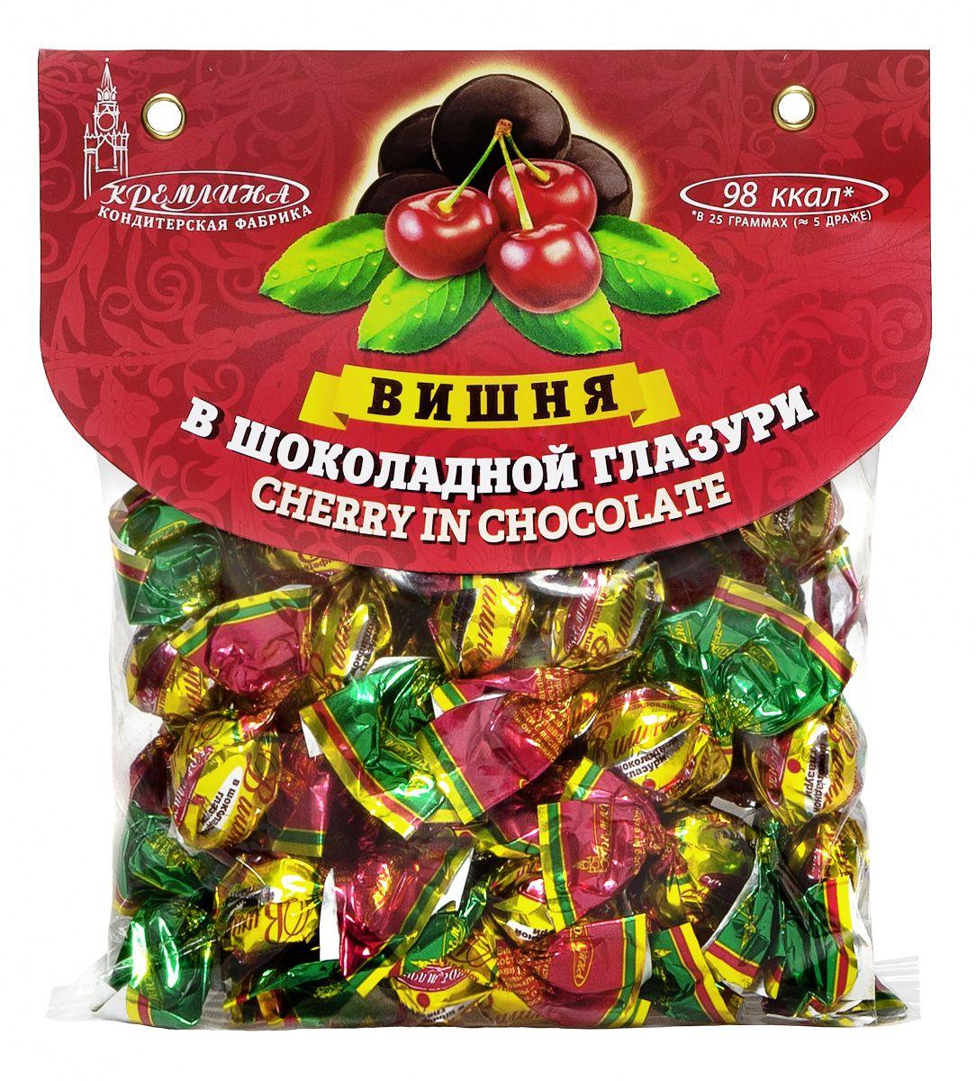 Кремлина Вишня в шоколадной глазури, 130 г bona vita батончик ореховый с семенами подсолнечника орехами и медом в шоколадной глазури 35 г