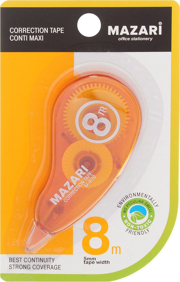 Mazari Корректирующая лента-роллер Conti Maxi цвет оранжевый 5 x 8000 ммМ-4110_оранжевыйКорректирующая лента- роллер Mazari Conti Maxi предназначена для корректировки текста на любом виде бумаги.Имеет эргономичный корпус, высокую укрывистость. Не имеет запаха.