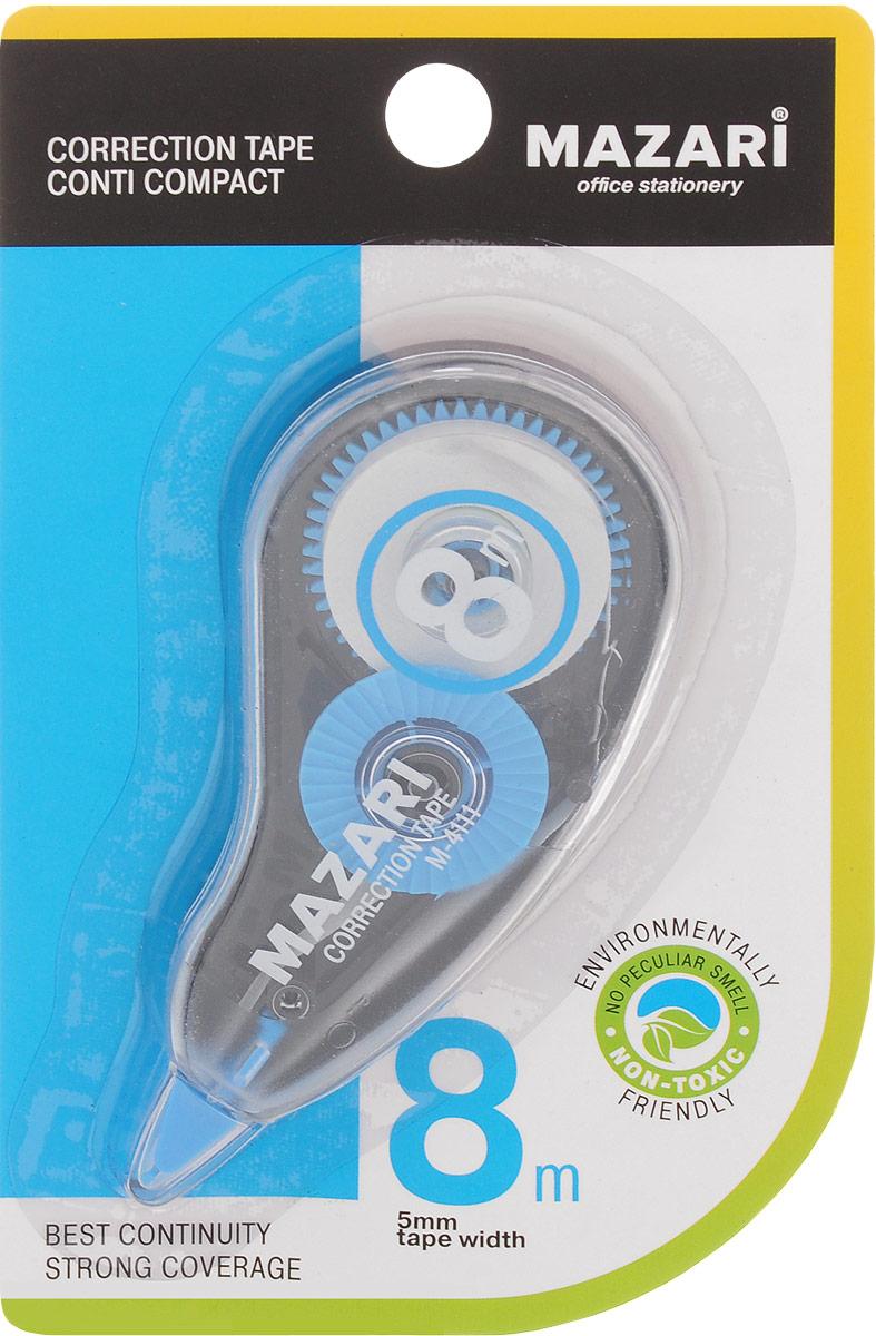 Mazari Корректирующая лента-роллер Conti Compact цвет синий 5 x 8000 ммМ-4111_синийКорректирующая лента- роллер Mazari Conti Compact предназначена для корректировки текста на любом виде бумаги.Имеет эргономичный корпус, высокую укрывистость. Не имеет запаха.