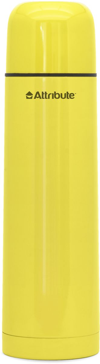 Термос Attribute Color, с узкой горловиной, цвет: желтый, 1 л