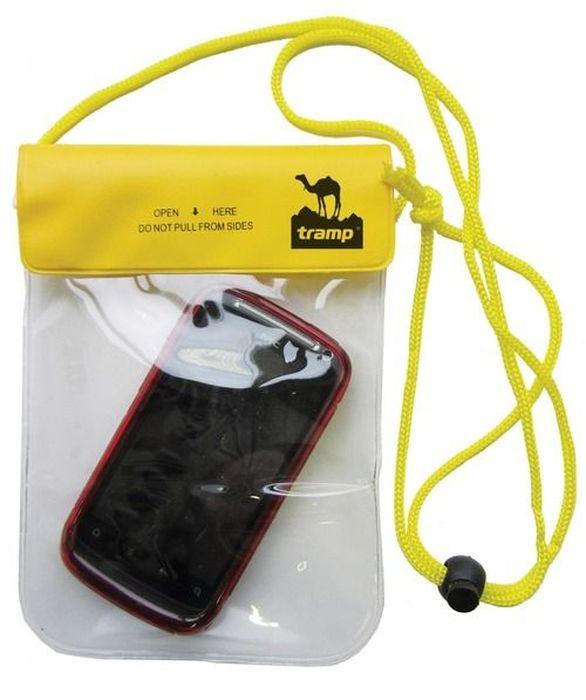 Гермочехол Tramp, цвет: желтый, 20 х 13 см. TRA-026TRA-026Гермочехол предназначен для транспортировки мобильного телефона других вещей на охоте, рыбалке, в туристических походах, на водных прогулках и их защиты от намокания (во время дождя или падении в воду/грязь). Материал ПВХ, из которого изготовлен чехол, прочный и 100% влагонепроницаемый.Гермочехол можно носить на шее, длина шнурка регулируется стоппером. Размер: 20 х 13 см.