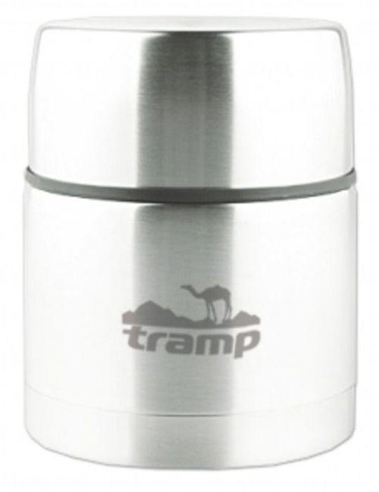 """Термос """"Tramp"""" с широким горлом предназначен для первых и вторых блюд.  Термос для супа и второго обладает особым строением, стенки которого защищают содержимое от внешних низких температур и не выпускают тепло изнутри. Основное предназначение подобных емкостей заключается в переносе готовых блюд и сохранении их тепла. Теплоемкость стенок термоса - максимальна, а теплопроводность, напротив, минимальна.  Термос со стальной колбой - это самый оптимальный вариант для путешествий. Такому термосу не страшны случайные удары, он не бьется и устойчив к царапинам, при этом он способен сохранять тепло в течение многих часов. Термос - незаменимый помощник для здорового образа жизни! Будь то покорение снежных вершин, марафон под палящим солнцем, или же путешествие на край света - термос для еды всегда поможет принять горячую пищу вовремя! Пищевой термос - лучший выбор путешественников, рыболовов, охотников и всех тех, кто предпочитает горячую здоровую пищу! Термос пищевой в первую очередь гигиеничен. К тому же изделие легко моется. Ведь пища не пристает к стенкам колбы. При производстве используется высококачественное, экологически безопасное сырье, которое позволяет применять термос для первых и вторых блюд без потери качества.   Изделие имеет две крышки-миски, которые позволяют удобно пользоваться при приеме пищи.  Сохраняет тепло до 12 часов.  Объем: 0,5 л."""