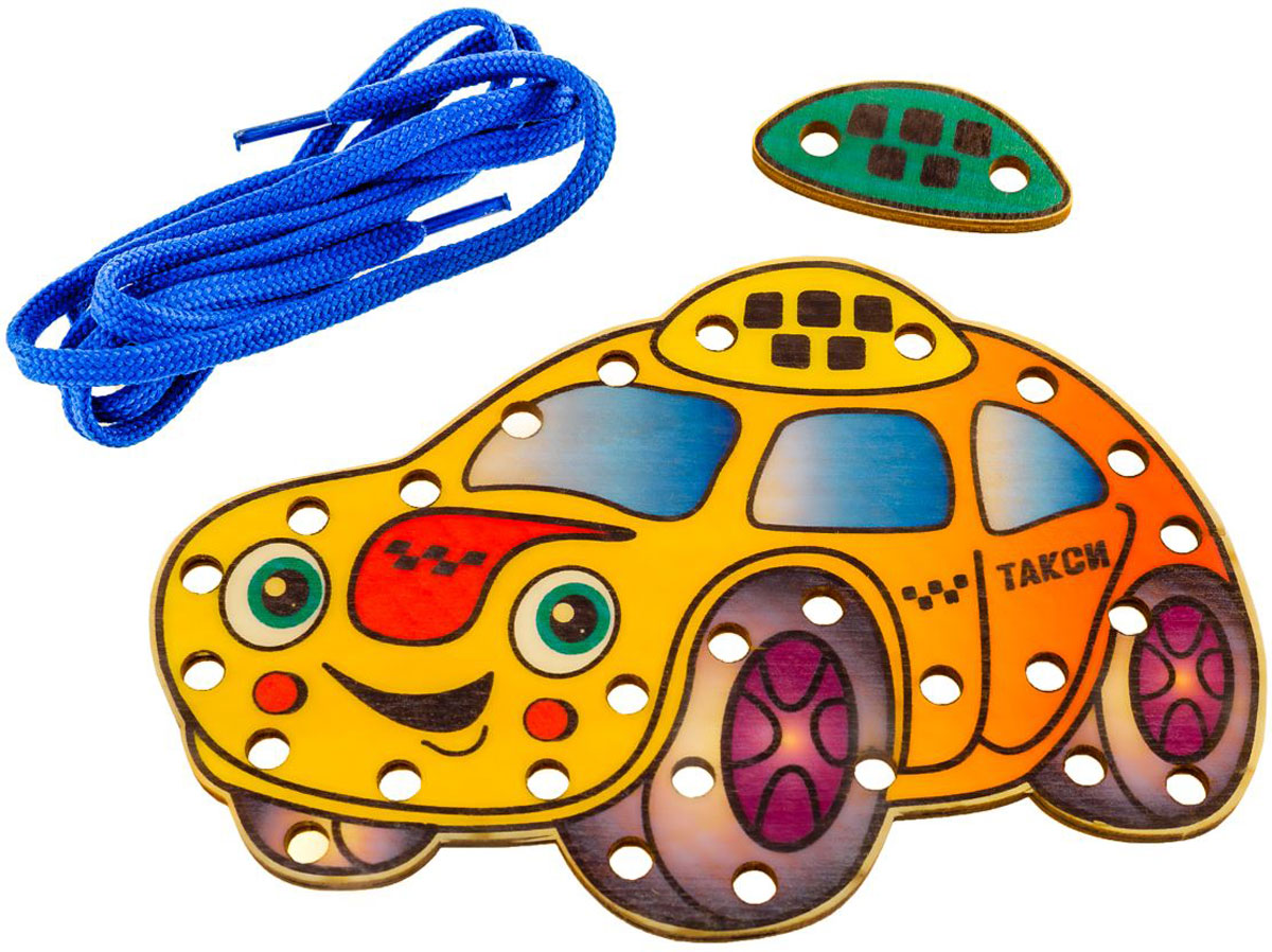Развивающие деревянные игрушки Шнуровка Зеленоглазое такси