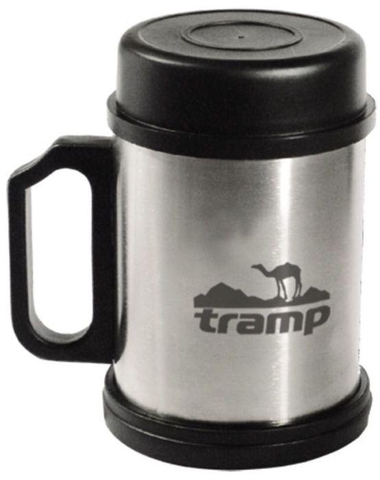 Термокpужка Tramp, с крышкой и подставкой, цвет: серый, 0,3 л. TRС-006