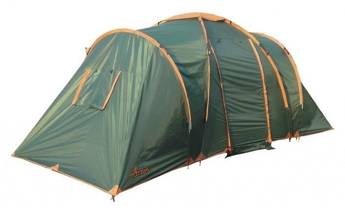 Палатка кемпинговая Тотеm Hurone 4, цвет: зеленый. TTT-005,09TTT-005.09Двухслойная палатка Тотеm идеальна для туристических походов в весеннее, летнее и осеннее время. Может пригодиться мотоциклистам и охотникам. Двухслойная кемпинговая палатка с двумя входами и большим тамбуром.Входы всех спальных отделений продублированы москитной сеткой. Два спальных отделенияДва больших вентиляционных окнаВсе швы проклеены.Размер: 220 х 500 см. Количество мест: 4. Тент: полиэстер. Внутренняя палатка: дышащий полиэстер. Каркас: фибергласс 11 мм+ сталь 16 мм. Дно: армированный полиэтилен (терпаулинг). Количество входов: 2. Полный вес: 8,7 кг. Количество тамбуров: 1.Размер спальных мест: 140 х 210 см + 140 х 210 см. Размер тамбура: 210 х 210 см. Высота: 165 см. Высота тамбура: 200 см.
