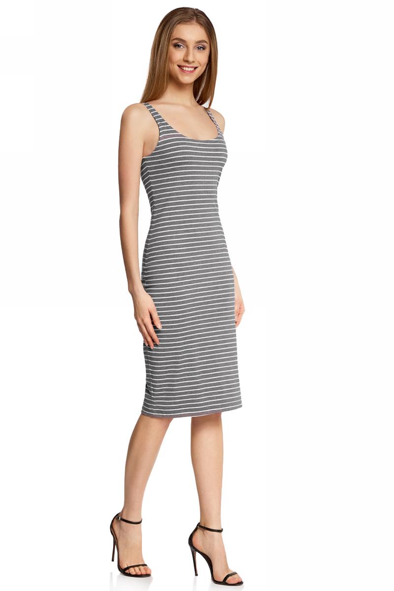 Платье oodji Ultra, цвет: темно-серый, белый. 14015007-1B/47069/2512S. Размер XL (50)14015007-1B/47069/2512SЛегкое обтягивающее платье oodji Ultra, выгодно подчеркивающее достоинства фигуры, выполнено из качественного эластичного трикотажа в мелкую полоску. Модель миди-длины с круглым вырезом горловины и узкими бретелями дополнена разрезом на юбке с задней стороны. Мягкая ткань на основе полиэстера, хлопка и иэластана приятна на ощупь и комфортна в носке.