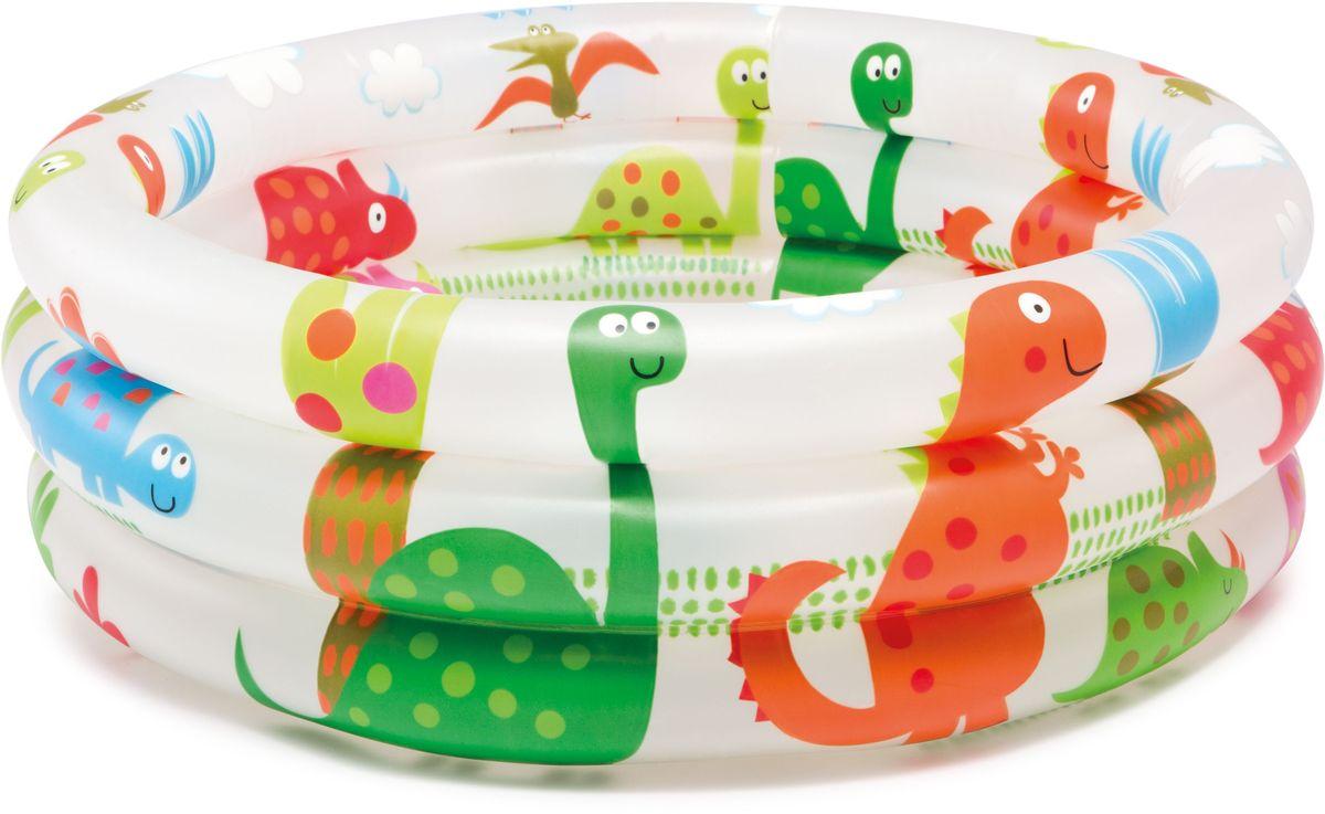 Zakazat.ru Бассейн надувной Intex Динозавр, цвет: белый, оранжевый, зеленый, диаметр 61 см