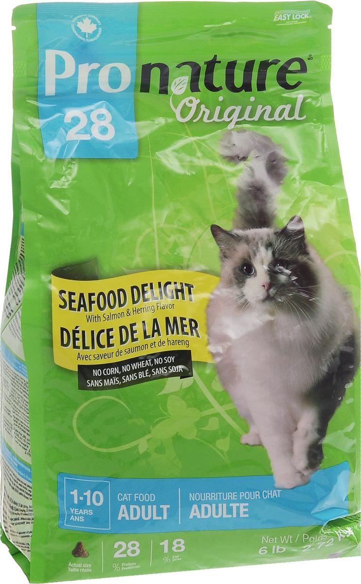 Корм сухой Pronature Original 28. Океан удовольствия, для кошек, с цыпленком и морепродуктами, 2,72 кг102.418Корм сухой Pronature Original 28. Океан удовольствия - это сбалансированный полнорационный корм для кошек, который содержит только натуральные ингредиенты высшего качества. Натуральные источники пребиотиков, содержащиеся в корме, способствуют росту нормальной кишечной микрофлоры, укрепляют иммунитет и помогают организму бороться с болезнетворными бактериями. Низкое содержание магния и сушенная клюква обеспечивают профилактику мочекаменной болезни. Содержит уникальный набор целебных трав, признанных своими терапевтическими свойствами. Корм имеет эффектный внешний вид и великолепный вкус.Не содержит красителей, искусственных ароматизаторов, сои, свинины, говядины, субпродуктов (мясокостной муки), ГМО, пшеницы и кукурузы. Товар сертифицирован.