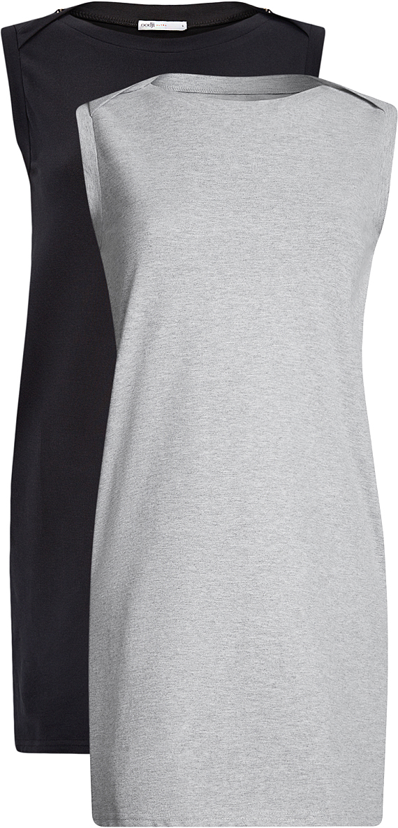 Платье oodji Ultra, цвет: черный, серый, 2 шт. 14005074T2/46149/2923N. Размер S (44)14005074T2/46149/2923NТрикотажное летнее платье выполнено из эластичного хлопка. Модель приталенного кроя и без рукавов. В комплекте 2 платья.