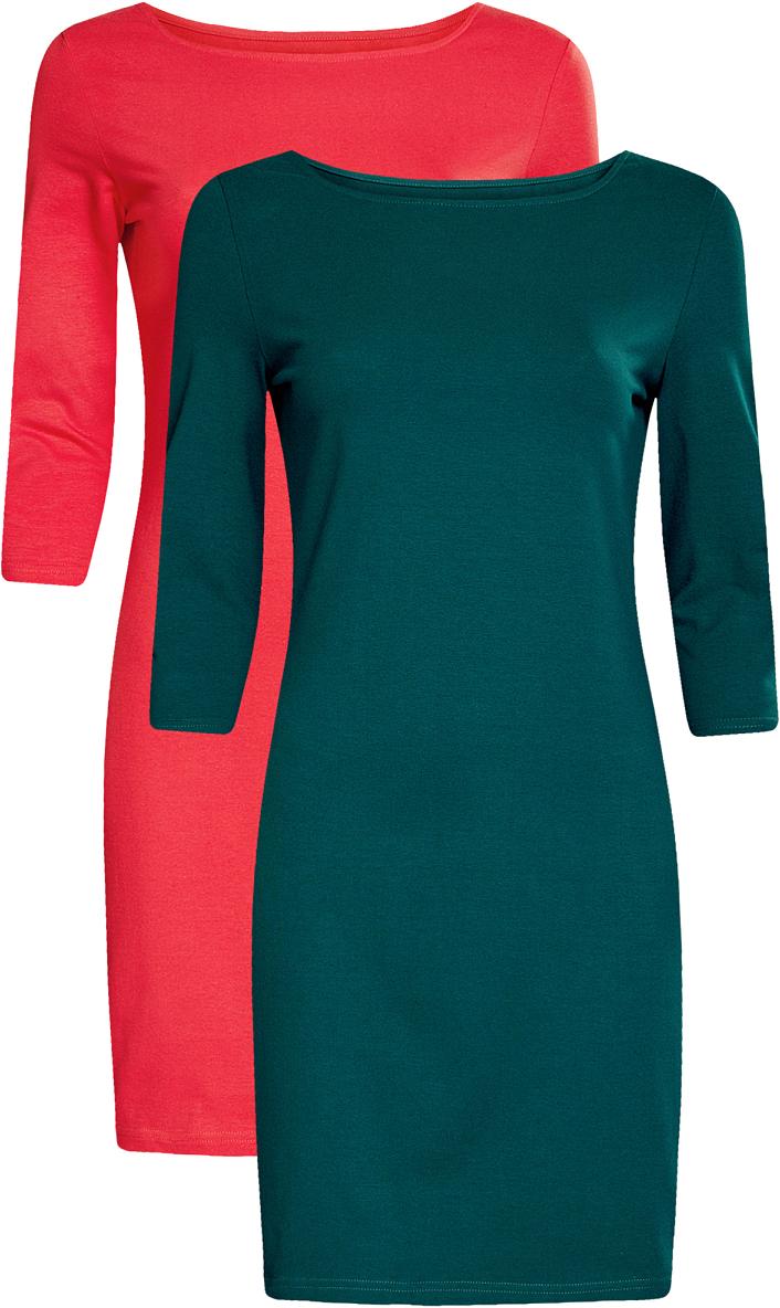 Платье oodji Ultra, цвет: ярко-розовый, темно-изумрудный, 2 шт. 14001071T2/46148/4D6EN. Размер M (46)14001071T2/46148/4D6ENКомплект из двух мини-платьев oodji Ultra изготовлен из хлопка с добавлением эластана. Обтягивающие платья с круглым вырезом и рукавами 3/4 выполнены в лаконичном дизайне. В комплекте два платья.