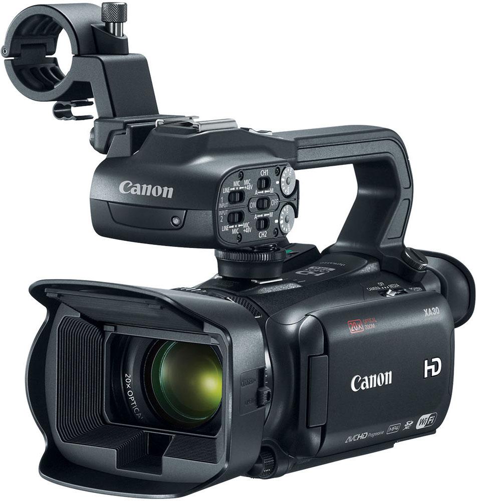 Canon XA30, Black профессиональная видеокамера1004C003Компактная видеокамера Canon XA30 имеет широкий динамический диапазон и идеально подходит для съемки четкого видео профессионального качества самых разных сюжетов — корпоративные видеоролики, свадьбы, видео для онлайн-использования и многие другие — особенно в сложных условиях высококонтрастного освещения.Снимайте видеоролики превосходного качества благодаря универсальному широкоугольному объективу 26,8 мм камеры XA30. 20x зум позволяет приблизиться к объекту съемки, а динамический оптический стабилизатор изображения компенсирует сотрясения в 5 направлениях, обеспечивая высокую плавность изображения. 8-лепестковая ирисовая диафрагма с максимальным значением f/1.8 и технология EDM позволяют достичь приятного эффекта боке.Новый датчик Canon HD CMOS Pro с эффективным количеством пикселей 2,91 МП позволяет получать изображения в формате Full HD превосходного качества. Благодаря повышенной чувствительности и улучшенному отношению сигнал/шум изображения, особенно снятые в условиях слабого освещения, выглядят более резкими и с более низким уровнем шума.Две новые настройки изображения позволяют получать еще более впечатляющие результаты. Режим Wide DR обеспечивает динамический диапазон 600%, позволяя получать яркие высококонтрастные изображения с сохранением деталей в освещенных и затененных областях, благодаря чему изображения не требуют послесъемочной обработки. Режим приоритета светов позволяет создавать видеоролики с более естественными тонами, насыщенным цветом и высокой детализацией, особенно в областях с высокой яркостью — идеальный вариант для сцен с ярким небом и отражающими поверхностями.Несмотря на компактный размер XA30 обеспечивает высококачественный контроль. Удобный в использовании сенсорный экран OLED с разрешением 1,23 млн точек обеспечивает быстрое реагирование и высокую четкость, контрастность и цветопередачу изображения по сравнению с ЖК-экраном. Электронный видоискатель с диагональю 0,61 см (0,24) и 