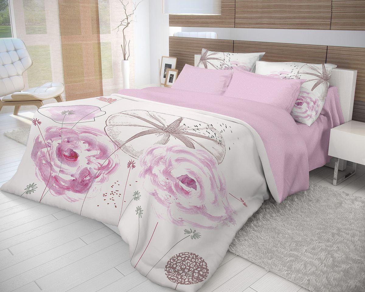 Комплект белья Волшебная ночь Shell, 2-спальный с простыней на резинке, наволочки 70х70, цвет: серый, розовый, белый. 710618710618Роскошный комплект постельного белья Волшебная ночь Shell выполнен из натурального ранфорса (100% хлопка) и оформлен оригинальным рисунком. Комплект состоит из пододеяльника, простыни и двух наволочек. Ранфорс - это новая современная гипоаллергенная ткань из натуральных хлопковых волокон, которая прекрасно впитывает влагу, очень проста в уходе, а за счет высокой прочности способна выдерживать большое количество стирок. Высочайшее качество материала гарантирует безопасность.