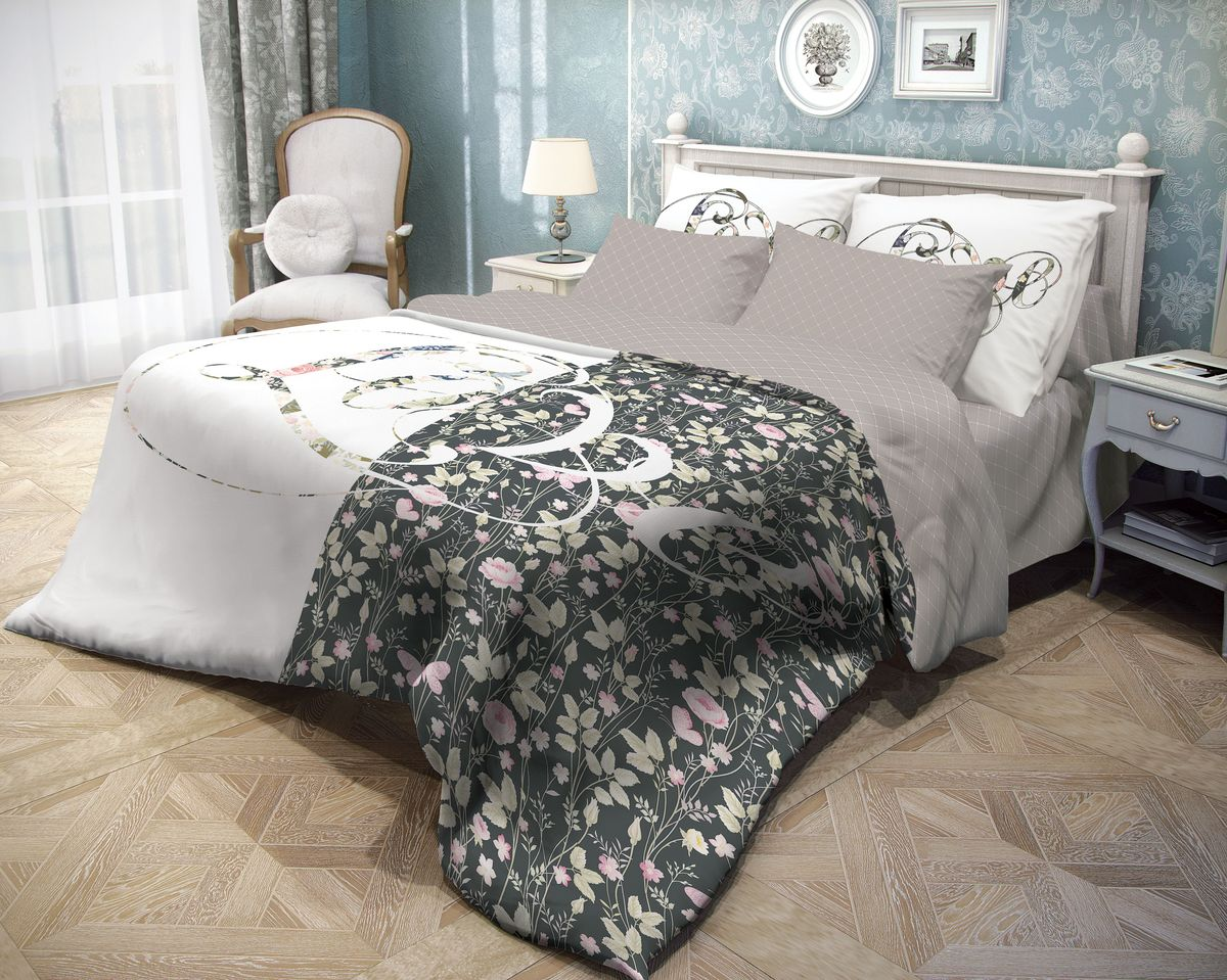 Комплект белья Волшебная ночь Amour, 2-спальный с простыней на резинке, наволочки 70х70, цвет: серый, розовый, белый. 710626710626Роскошный комплект постельного белья Волшебная ночь Amour выполнен из натурального ранфорса (100% хлопка) и оформлен оригинальным рисунком. Комплект состоит из пододеяльника, простыни на резинке и двух наволочек. Ранфорс - это новая современная гипоаллергенная ткань из натуральных хлопковых волокон, которая прекрасно впитывает влагу, очень проста в уходе, а за счет высокой прочности способна выдерживать большое количество стирок. Высочайшее качество материала гарантирует безопасность.