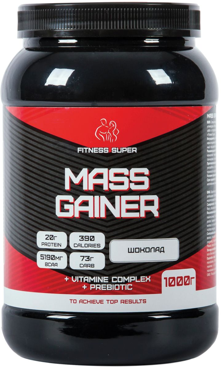 Гейнер FITNESS SUPER Mass Gainer, шоколад, 1 кг гейнер geneticlab nutrition mass gainer шоколад 1000 г