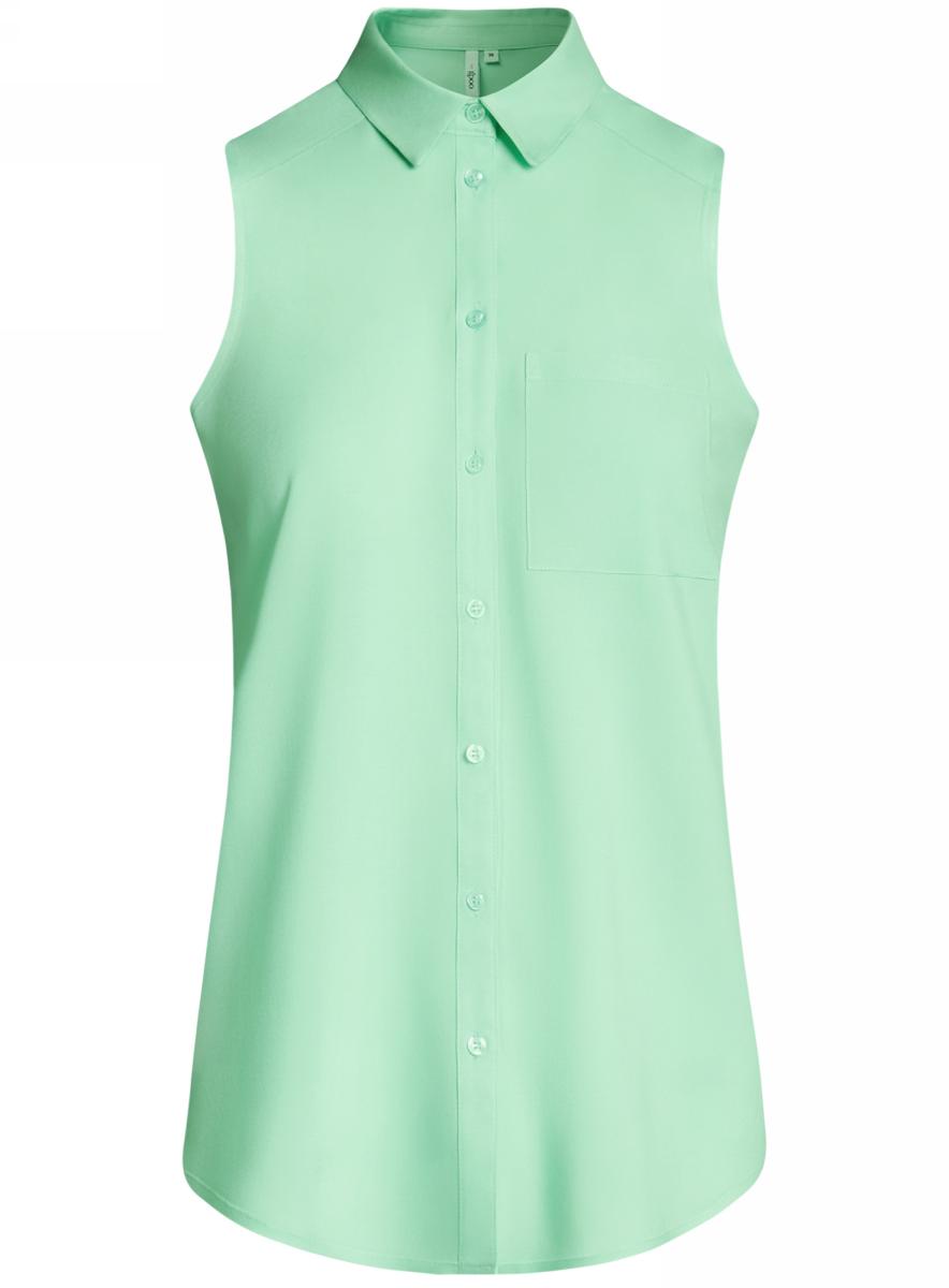 Блузка женская oodji Ultra, цвет: ментоловый. 11411108B/26346/6500N. Размер 42-170 (48-170) блузка женская oodji ultra цвет серо зеленый 11411127b 26346 6c00n размер 42 48 170