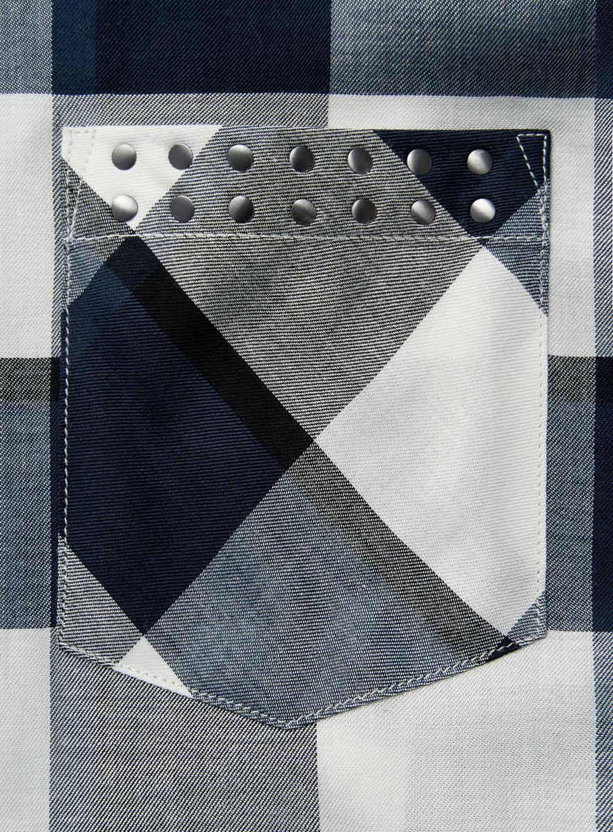 Блузка женская oodji Ultra, цвет:  темно-синий, белый.  11411155/46612/7912C.  Размер 38-170 (44-170) oodji