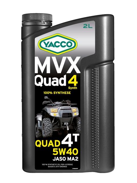 Масло Yacco MVX QUAD 5W40, для квадроциклов с 4-тактным двигателем, 2 л334024MVX QUAD 4 SYNTH 5W-40 100% синтетическое масло для квадроциклов с 4-тактным двигателем ПРИМЕНЕНИЕ Особо рекомендуется для квадроциклов, оснащенных новейшими технологическими решениями для наиболее жестких условий эксплуатации и всесезонного использования. Применяется также для смазки встроенных коробок передач, обеспечивая усиленную защиту узла «коробка/сцепление» (одобрение JASO MA2).Подходит для любого применения (спортивные, профессиональные квадроциклы или для отдыха). Значительно превышает технические требования ведущих производителей квадроциклов. ТИПИЧНЫЕ ПОКАЗАТЕЛИ Единицы измерения 5W-4 Плотность при 20°C кг/м3 860 Вязкость кинематическая при 40°C мм2/с 91.7 Вязкость кинематическая при 100°C мм2/с 15.2 Индекс вязкости 176 Температура застывания °C - 39 Температура вспышки (PMCC) °C > 210 Динамическая вязкость при - 30°C мПА*с (сП) 6200 Приведенные в таблице данные основаны на тестах в лабораторных условиях и предоставляются только как справочные. ПРЕИМУЩЕСТВА • Состав продукта и класс вязкости SAE 5W-40 обеспечивают оптимальную и быструю смазку при запуске двигателя и обеспечивают сохранение вязкостных свойств в ввысокотемпературных режимах • Эффективные присадки улучшают индекс вязкости, очень устойчивы к деформации сдвига и позволяют поддерживать вязкость в ходе эксплуатации для оптимальной защиты двигателя и коробки передач • Отличные моющие и диспергирующие свойства, обеспечивающие чистоту узлов двигателя • 100% синтетический состав масла для оптимальной защиты высокотемпературных режимах • Высокий коэффициент трения соответствует требованиям JASO MA2, позволяя избежать «проскальзывания сцепления» СПЕЦИФИКАЦИИ И ОДОБРЕНИЯ MVX QUAD 4 SYNTH 5W-40 официально одобрено: JASO MA2 MVX QUAD 4 SYNTH 5W-40 соответствует требованиям спецификаций: API SL