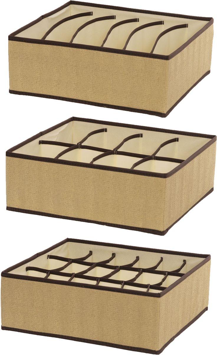Набор органайзеров HomeMaster, 34 х 32 х 13 см, 3 штSN011Набор из трех органайзеров HomeMaster предназначен для хранения аксессуаров и нижнего белья. Он обеспечит бережное хранение вещей и позволит организовать внутреннее пространство вашего дома. Теперь вы быстро найдете необходимую вещь. Органайзер можно расположить как на полке, так и в выдвижном ящике вашего шкафа.