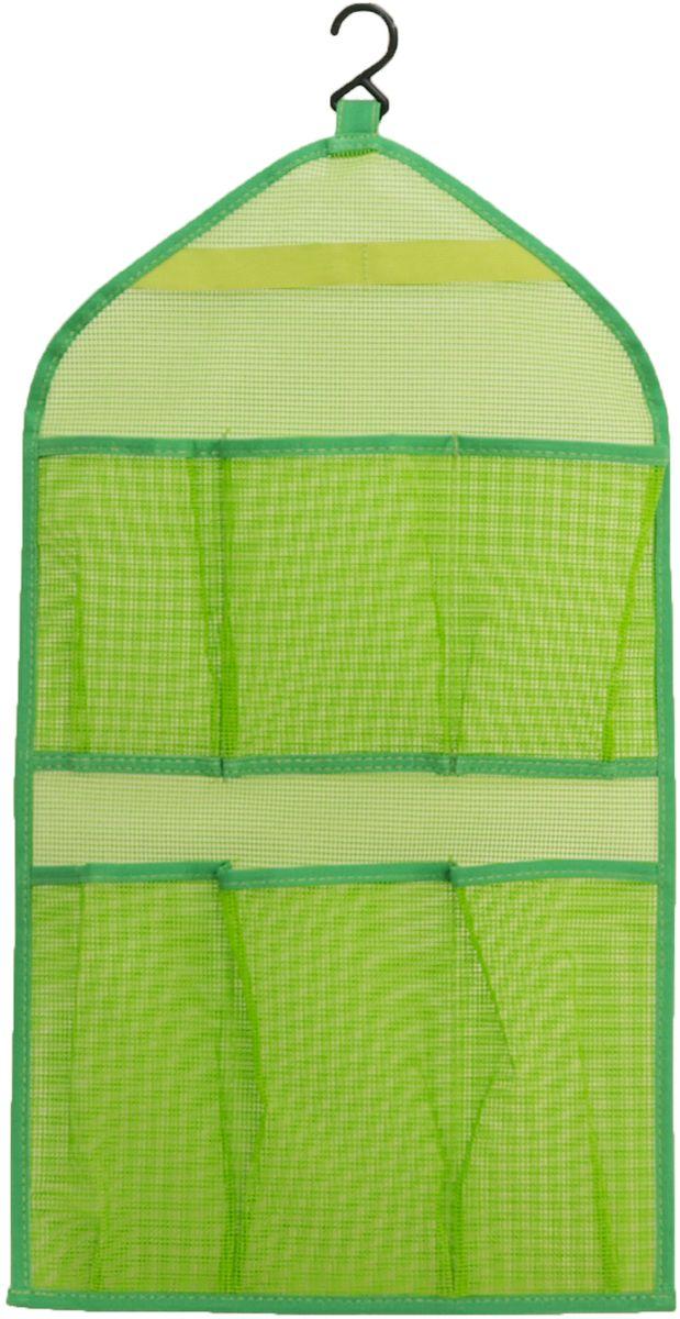 Органайзер для ванной HomeMaster, цвет: зеленый, 30 х 54 х 0,3 смSTI017Органайзер подвесной HomeMaster с вешалкой для ванной комнаты. Изделие можно повесить на стенку в любом удобном для вас месте и видно, что находится в каждом кармашке.