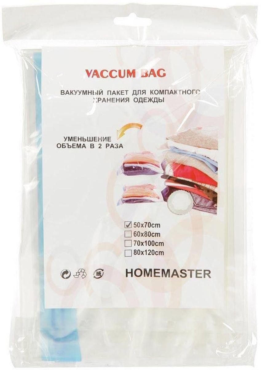 Набор вакуумных пакетов HomeMaster, 50 х 70 см, 2 штSO260-50x70Вакуумный компрессионный чехол HomeMaster предназначен для компактного хранения и транспортировки постельного белья, одежды, мягких игрушек. Позволяет уменьшить объем занимаемого пространства на 80%. Работает со всеми видами пылесосов. Вакуумный пакет позволяет защитить находящуюся в нем вещь от воды, грязи, пыли, насекомых, плесени, запаха. Вакуумный чехол применяется для любого вида ткани и материала. Пакеты изготовлены из полиэтилена высокой плотности.