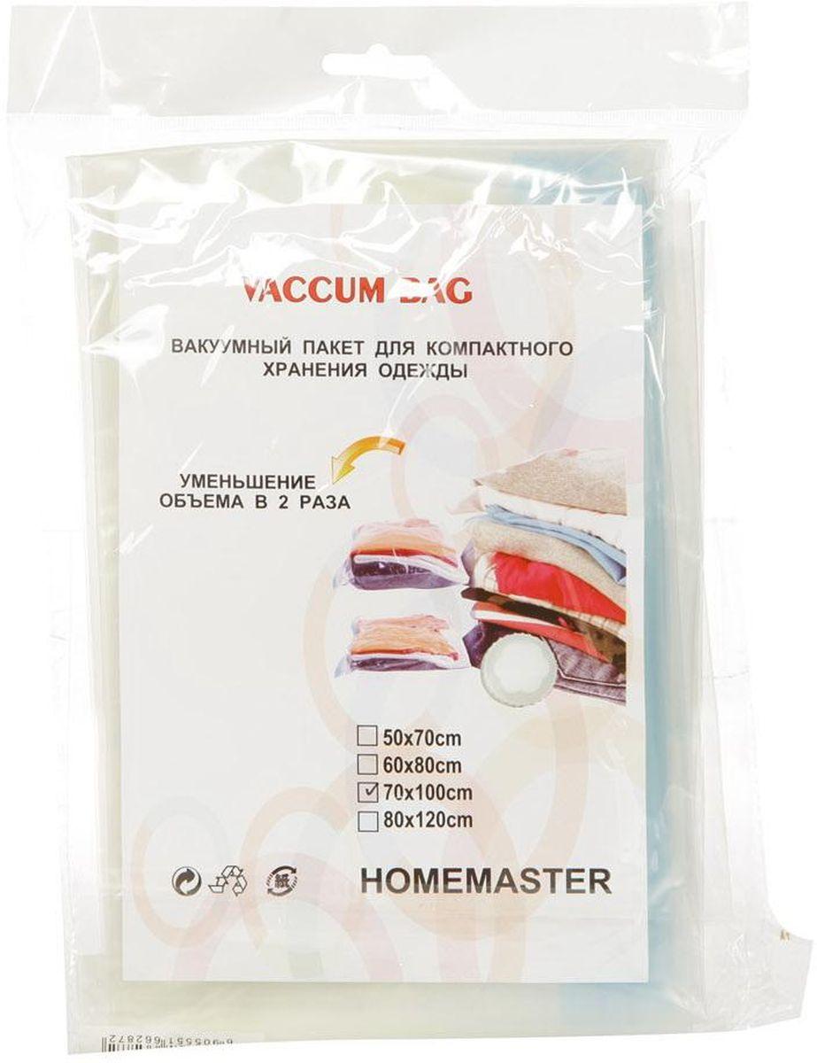 Набор вакуумных пакетов HomeMaster, 70 х 100 см, 2 штSO260-70x100Вакуумный компрессионный чехол HomeMaster предназначен для компактного хранения и транспортировки постельного белья, одежды, мягких игрушек. Позволяет уменьшить объем занимаемого пространства на 80%. Работает со всеми видами пылесосов. Вакуумный пакет позволяет защитить находящуюся в нем вещь от воды, грязи, пыли, насекомых, плесени, запаха. Вакуумный чехол применяется для любого вида ткани и материала. Пакеты изготовлены из полиэтилена высокой плотности.