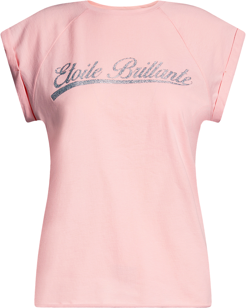 Футболка женская oodji Ultra, цвет: светло-розовый, серебряный. 14707001-15/46154/4091P. Размер S (44)14707001-15/46154/4091PЖенская футболка от oodji выполнена из натурального хлопка. Модель с короткими рукавами на груди оформлена принтованной надписью.