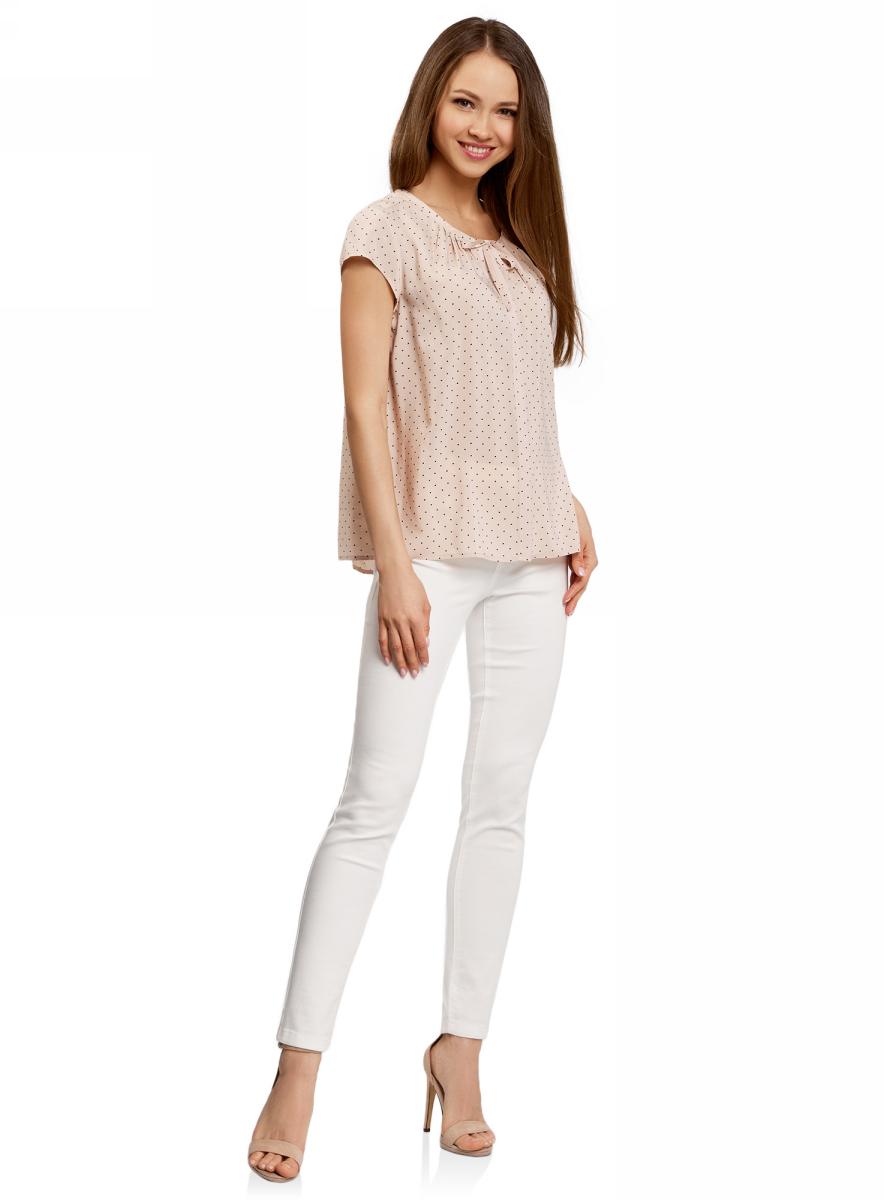 Блузка женская oodji Ultra, цвет: карамельный, черный. 11411154/24681/4B29Q. Размер 42-170 (48-170) блузка женская oodji ultra цвет светло розовый черный 11411098 3 24681 4029o размер 42 48 170