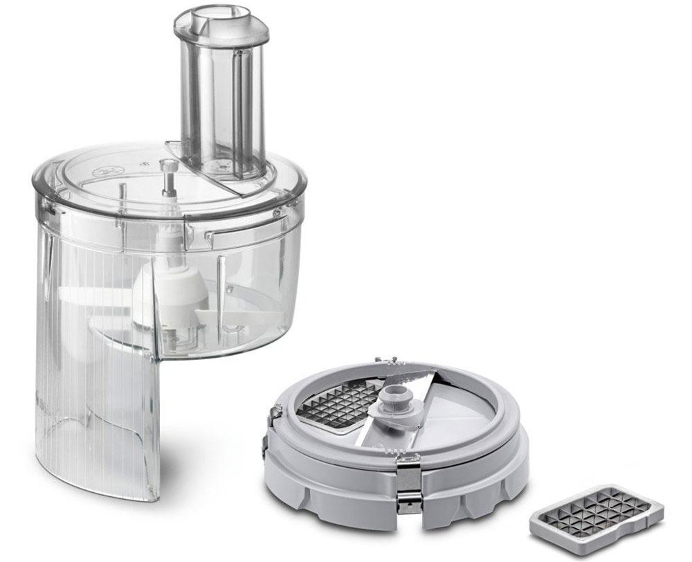 Bosch MUZ5CC2 насадка для нарезки кубиками для кухонных комбайновMUZ5CC2Насадка для нарезки кубиками Bosch MUZ5CC2 - практичное решение для нарезки большого количества продуктов, например для семейных торжеств.На выходе из насадки продукты измельчаются до кубиков с гранями 0,9 - 0,9 или 1,3 - 1,3 сантиметра. Габариты полуфабриката регулируют с помощью сменных модулей, можно выбрать нужный калибр до установки насадки на комбайн.Насадка состоит из нескольких крупных узлов, поэтому её несложно мыть и обслуживать. На кухонный комбайн такая насадка монтируется буквально одним движением руки. Простота конструкции облегчает процесс использования насадки, но не влияет на функциональность изделия.Подходит для серии MUM5.