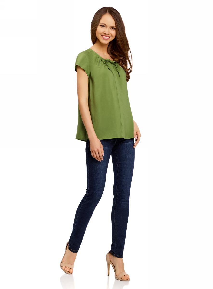 Блузка женская oodji Ultra, цвет: зеленый. 11411154/24681/6200N. Размер 42-170 (48-170) блузка женская oodji ultra цвет светло розовый черный 11411098 3 24681 4029o размер 42 48 170