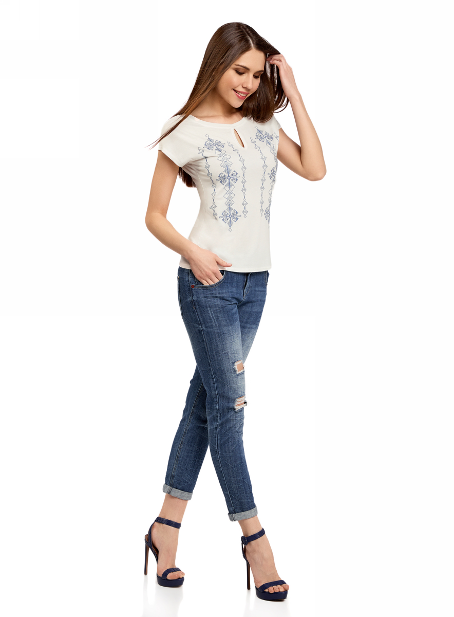 Футболка женская oodji Ultra, цвет: белый, синий. 14708016-1/14744/1275P. Размер XL (50) футболка oodji футболка