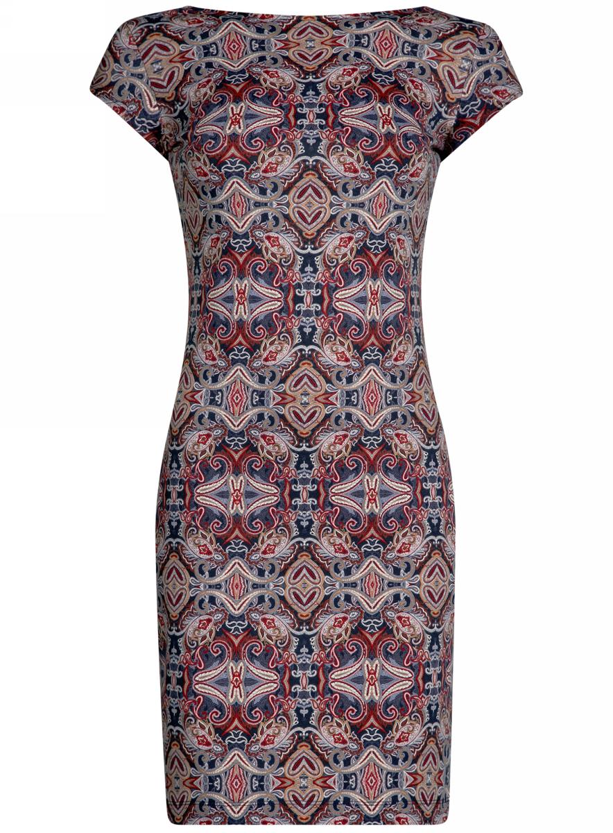 Платье oodji Collection, цвет: черный, бордовый. 24001114-1M/37809/2949E. Размер L (48) платье oodji collection цвет синий 24007026 37809 7500n размер l 48