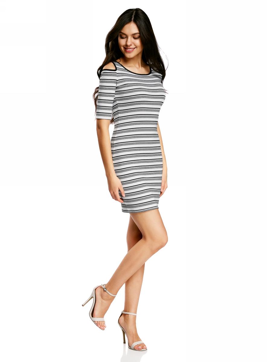 Платье oodji Ultra, цвет: белый, черный, полоски. 14011018/46720/1029S. Размер L (48) платье oodji ultra цвет черный 14015017 1b 48470 2900n размер l 48