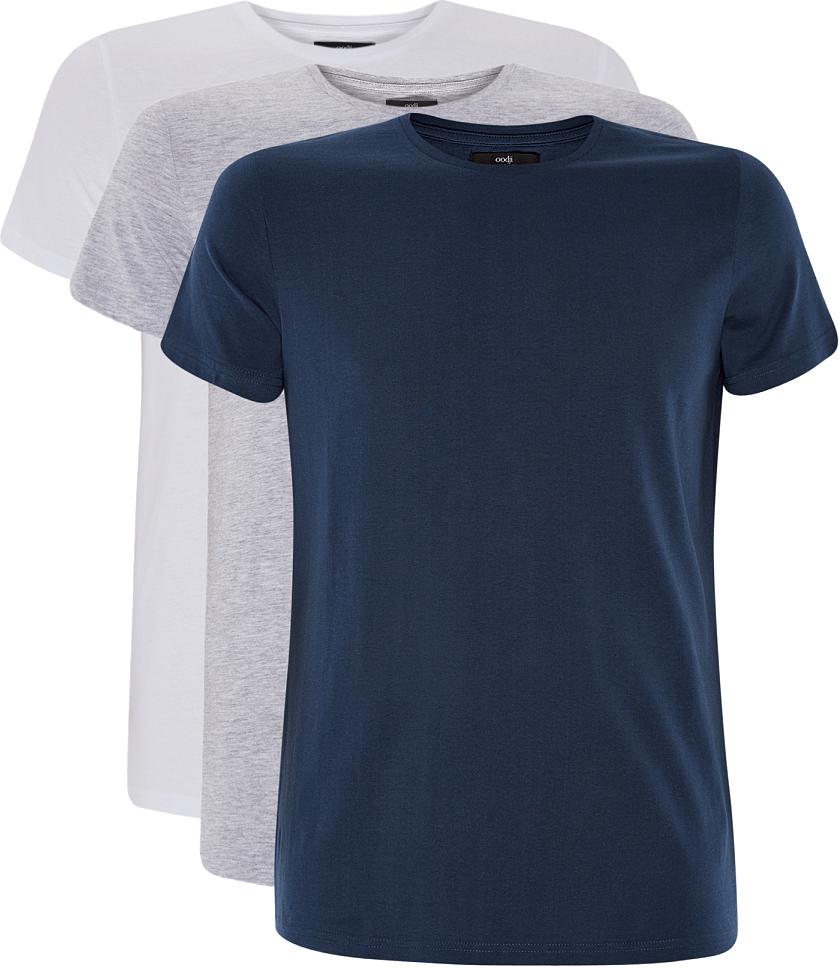 Футболка мужская oodji Basic, цвет: серый, белый, синий, 3 шт. 5B621002T3/44135N/1900N. Размер XS (44)5B621002T3/44135N/1900NМужская футболка oodji Basic изготовлена из высококачественного натурального хлопка. Модель с короткими рукавами и круглым вырезом горловины дополнена эластичной вставкой в цвет изделия по горловине. В комплекте 3 футболки.