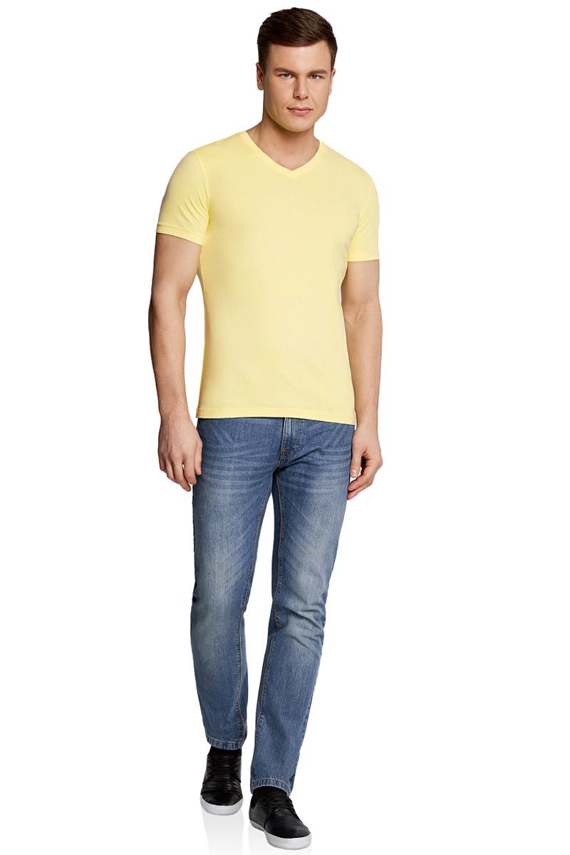 Футболка мужская oodji Basic, цвет: светло-желтый. 5B612002M/39230N/5000Y. Размер XS (44) футболка базовая с u образным вырезом