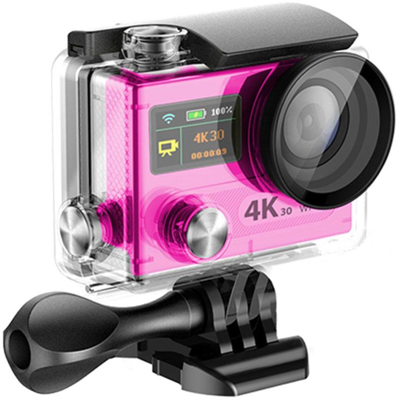 Eken H8R Ultra HD, Pink экшн-камераH8R PINKЭкшн-камера Eken H8R Ultra HD позволяет записывать видео с разрешением 4К и очень плавным изображением до 30 кадров в секунду. Камера имеет два дисплея: 2 TFT LCD основной экран и 0.95 OLED экран статуса (уровень заряда батареи, подключение к WiFi, режим съемки и длительность записи). Эта модель сделана для любителей спорта на улице, подводного плавания, скейтбординга, скай-дайвинга, скалолазания, бега или охоты. Снимайте с руки, на велосипеде, в машине и где угодно. По сравнению с предыдущими версиями, в Eken H8R Ultra HD вы найдете уменьшенные размеры корпуса, увеличенный до 2-х дюймов экран, невероятную оптику и фантастическое разрешение изображения при съемке 30 кадров в секунду!Управляйте вашей H8R на своем смартфоне или планшете. Приложение Ez iCam App позволяет работать с браузером и наблюдать все то, что видит ваша камера. В комплекте с камерой идет пульт ДУ работающий на частоте 2,4 Ггц. Он позволяет начинать и заканчивать съемку удаленно.