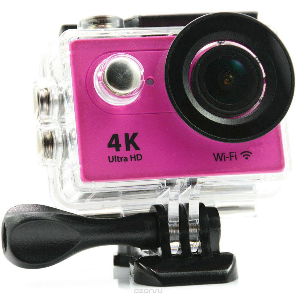 Eken H9R Ultra HD, Pink экшн-камераH9R PINKЭкшн-камера Eken H9R Ultra HD позволяет записывать видео с разрешением 4К и очень плавным изображением до 30 кадров в секунду. Камера оснащена 2 TFT LCD экраном. Эта модель сделана для любителей спорта на улице, подводного плавания, скейтбординга, скай-дайвинга, скалолазания, бега или охоты. Снимайте с руки, на велосипеде, в машине и где угодно. По сравнению с предыдущими версиями, в Eken H9R Ultra HD вы найдете уменьшенные размеры корпуса, увеличенный до 2-х дюймов экран, невероятную оптику и фантастическое разрешение изображения при съемке 30 кадров в секунду!Управляйте вашей H9R на своем смартфоне или планшете. Приложение Ez iCam App позволяет работать с браузером и наблюдать все то, что видит ваша камера. В комплекте с камерой идет пульт ДУ работающий на частоте 2,4 ГГц. Он позволяет начинать и заканчивать съемку удаленно.