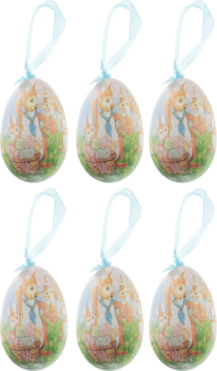 Сувенир пасхальный Sima-land Яйцо. Зайка с цветами, 4 х 4 х 6 см, 6 шт сувенир пасхальный sima land яйцо горошек 4 х 4 х 6 см 6 шт