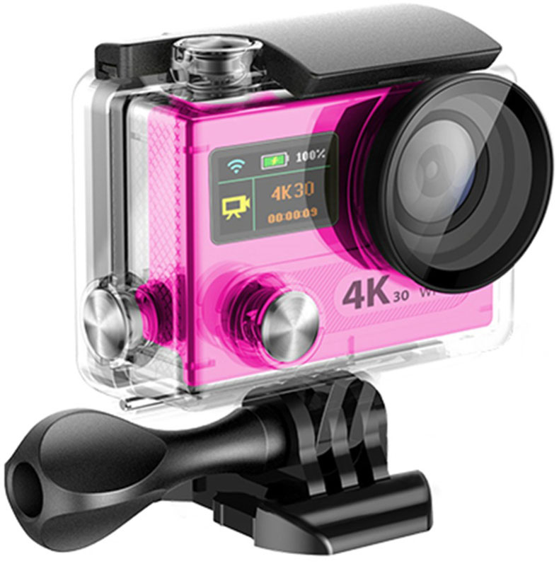 Eken H8 Ultra HD, Pink экшн-камераH8 PINKЭкшн-камера Eken H8 Ultra HD позволяет записывать видео с разрешением 4К и очень плавным изображением до 30 кадров в секунду. Камера имеет два дисплея: 2 TFT LCD основной экран и 0.95 OLED экран статуса (уровень заряда батареи, подключение к WiFi, режим съемки и длительность записи). Эта модель сделана для любителей спорта на улице, подводного плавания, скейтбординга, скай-дайвинга, скалолазания, бега или охоты. Снимайте с руки, на велосипеде, в машине и где угодно. По сравнению с предыдущими версиями, в Eken H8 Ultra HD вы найдете уменьшенные размеры корпуса, увеличенный до 2-х дюймов экран, невероятную оптику и фантастическое разрешение изображения при съемке 30 кадров в секунду!Управляйте вашей H8 на своем смартфоне или планшете. Приложение Ez iCam App позволяет работать с браузером и наблюдать все то, что видит ваша камера.Как выбрать экшн-камеру. Статья OZON Гид