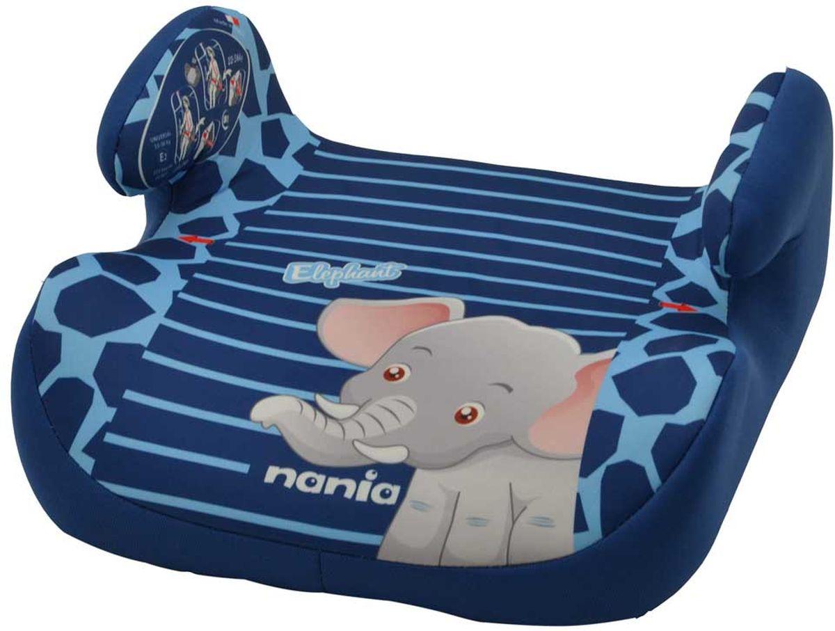 Nania Автокресло-бустер Topo Comfort Elephant от 15 до 36 кг цвет синий543134Бустер Nania Topo Comfort. Elephant имеет мягкое покрытие, а удобные подлокотники обеспечивают ребенку комфорт во время путешествия. Ребенок фиксируется штатными автомобильными ремнями.Кресло-бустер устанавливается в автомобилях с 3-точечными ремнями безопасности на переднем сиденье рядом с водителем или на заднем сиденье с краю. Кресло устанавливается в машине по направлению движения. Сидение оформлено изображением очаровательного слоненка.