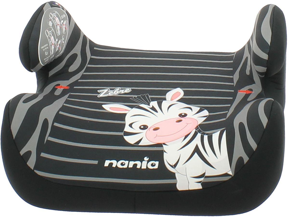 Nania Автокресло-бустер Topo Comfort Zebre от 15 до 36 кг цвет черный серыйABS-14,4 Sli BMCБустер Nania Topo Comfort. Zebre имеет мягкое покрытие, а удобные подлокотники обеспечивают ребенку комфорт во время путешествия. Ребенок фиксируется штатными автомобильными ремнями.Кресло-бустер устанавливается в автомобилях с 3-точечными ремнями безопасности на переднем сиденье рядом с водителем или на заднем сиденье с краю. Кресло устанавливается в машине по направлению движения. Сидение оформлено изображением забавной маленькой зебры.