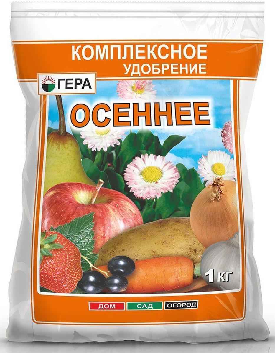 """Удобрение Гера """"Осеннее"""" предназначено для основного  внесения и подкормки в летне-осенний период плодово- ягодных и хвойных деревьев и кустарников,  цветочно-декоративных культур, а также удобрения и  закладки газона осенью. Преобладание фосфора и калия  улучшает качество урожая, повышает содержание витаминов  в плодах и ягодах, способствует лучшей приживаемости  растений при посадке, развитию мощной корневой системы,  лучшему вызреванию побегов и перезимовке плодово- ягодных, хвойных и цветочно-декоративных культур. Уважаемые клиенты! Обращаем ваше внимание на то, что  упаковка может иметь несколько видов дизайна.  Поставка осуществляется в зависимости от наличия на  складе."""