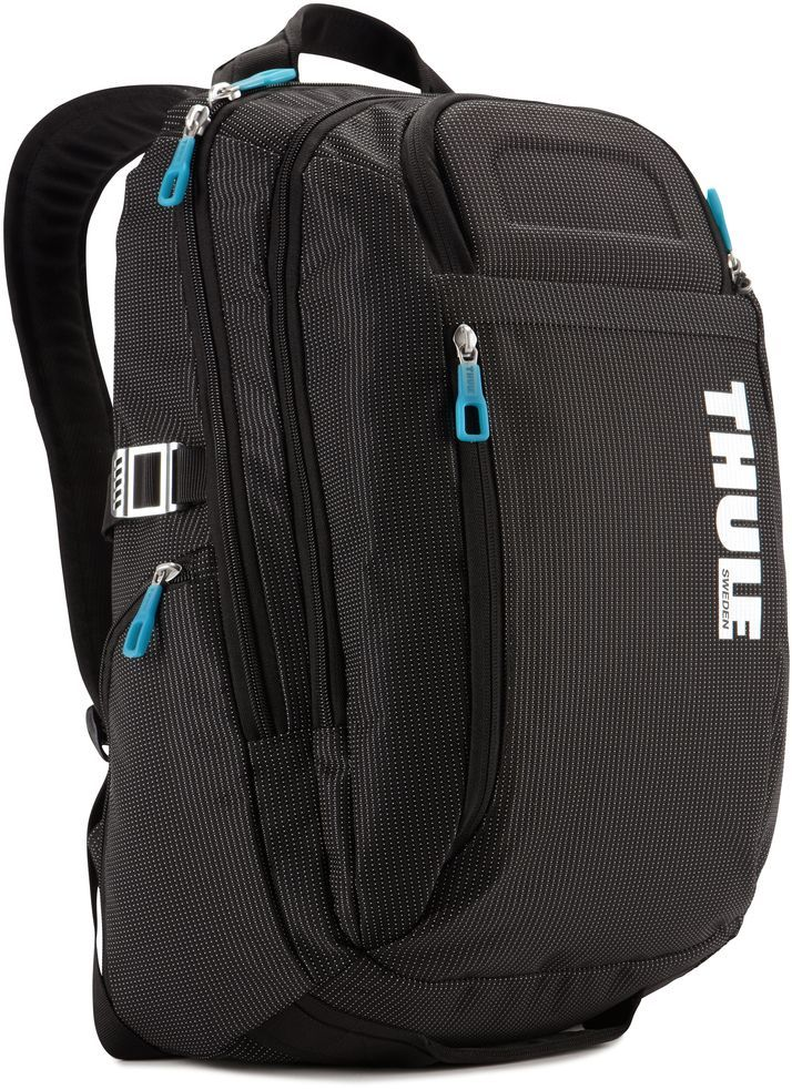 Рюкзак городской Thule Crossover, цвет: черный, 21 л3201751Рюкзак Thule Crossover c объемом 21 л - идеальный легкий рюкзак для путешествий и ежедневных прогулок по городу вместит все необходимое.В основном отделении находится приподнятый мягкий чехол для 15 MacBook Pro® с надежным фиксирующим ремнем для ноутбука и чехол для iPad.Замок-молния на задней панели позволяет получить быстрый доступ к iPad, не открывая основное отделение.Изготовленные по технологии горячей прессовки ударопрочные отделения SafeZone защитят ваш iPhone и солнцезащитные очки.Выемки для вентиляции на задней стороне обеспечивают циркуляцию воздуха.Воздухопроницаемые ремни рюкзака с регулируемым нагрудным ремнем обеспечивают максимальный комфорт.В дополнительном отделе-органайзере можно сложить легкие закуски, журналы и электронные устройства.Мелкие предметы удобно хранить в потайном кармане на передней панели.Боковые карманы на застежке-молнии подойдут для хранения под рукой бутылки с водой или небольших вещей.Несколько удобных ручек для переноски.Облегченный, но прочный материал также является водостойким.