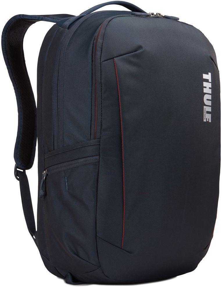 Рюкзак городской Thule Subterra Backpack, цвет: темно-синий, 30 л3203418Вместительный и прочный дорожный рюкзак с функцией защиты электроники и отделением PowerPocket для упорядоченного хранения шнуров и зарядных устройств. Отделение с мягкой подкладкой и конструкцией SafeEdge для ноутбука (MacBook Pro с диагональю экрана 15 дюймов или ПК с диагональю экрана 15,6 дюйма). Специальный защитный карман с мягкой подкладкой для планшета. От внешнего аккумулятора во внутреннем отделении PowerPocket удобно заряжать различные устройства. Доступ к ноутбуку из верхнего отделения или через боковую молнию. Перфорированные наплечные ремни EVA с сетчатым покрытием и мягкой задней подушкой, пропускающие воздух, обеспечивают комфорт. Съемный регулируемый нагрудный ремень фиксирует наплечные ремни рюкзака и делает транспортировку более комфортной. Специальная панель для надежного крепления к дорожным сумкам на колесах помогает путешествовать с удобством. Внутренний карман с мягкой подкладкой для ценных вещей, например очков или телефона. Удобные отделения-органайзеры упрощают размещение мелких предметов. В растягивающемся боковом кармане на молнии безопасно хранятся небольшие предметы и помещается бутылка воды.