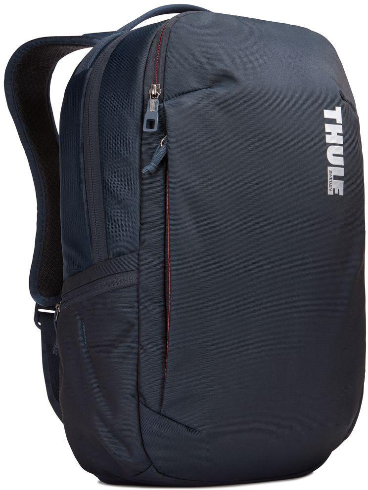 Рюкзак городской Thule Subterra Backpack, цвет: темно-синий, 23 л3203438Вместительный и прочный дорожный рюкзак с функцией защиты электроники и отделением PowerPocket для упорядоченного хранения шнуров и зарядных устройств.Отделение с мягкой подкладкой и конструкцией SafeEdge для ноутбука (MacBook Pro с диагональю экрана 15 дюймов или ПК с диагональю экрана 15,6 дюйма).Специальный защитный карман с мягкой подкладкой для планшета.От внешнего аккумулятора во внутреннем отделении PowerPocket удобно заряжать различные устройства.Доступ к ноутбуку из верхнего отделения или через боковую молнию.Перфорированные наплечные ремни EVA с сетчатым покрытием и мягкой задней подушкой, пропускающие воздух, обеспечивают комфорт.Съемный регулируемый нагрудный ремень фиксирует наплечные ремни рюкзака и делает транспортировку более комфортной.Специальная панель для надежного крепления к дорожным сумкам на колесах помогает путешествовать с удобством.Внутренний карман с мягкой подкладкой для ценных вещей, например очков или телефона.Удобные отделения-органайзеры упрощают размещение мелких предметов.В растягивающемся боковом кармане на молнии безопасно хранятся небольшие предметы и помещается бутылка воды.