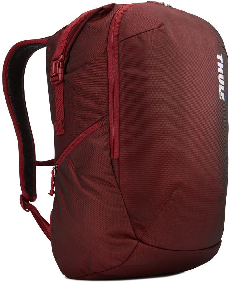 Рюкзак городской Thule Subterra Backpack, цвет: темно-бордовый, 34 л3203442Рюкзак Thule Subterra Backpack двойного назначения, который можно использовать как дорожную сумку или как обычный рюкзак. Отделение для хранения вещей пригодится для дальних поездок, выньте его при повседневном использовании.Особенности:- Широкая заворачивающаяся горловина с магнитной застежкой позволяет легко доставать содержимое.- Съемное отделение для хранения вещей помогает поддерживать порядок и легко находить то, что нужно.- Отделение с мягкой подкладкой, конструкцией SafeEdge и надежной застежкой-клапаном для защиты ноутбука (MacBook Pro с диагональю экрана 15 дюймов или ПК с диагональю экрана 15,6 дюйма).- Доступ к ноутбуку из верхнего отделения или через боковую молнию.- От внешнего аккумулятора во внутреннем отделении PowerPocket удобно заряжать различные устройства.- Специальный защитный карман с мягкой подкладкой для планшета.- Быстрый доступ к содержимому рюкзака благодаря застежке-молнии на боковой панели.- Перфорированные наплечные ремни EVA с сетчатым покрытием и мягкой задней подушкой, пропускающие воздух, обеспечивают комфорт.- Специальная панель для надежного крепления к дорожным сумкам на колесах помогает путешествовать с удобством.- В растягивающемся боковом кармане на молнии безопасно хранятся небольшие предметы и помещается бутылка воды.Размер: 23 х 31 х 52 см.
