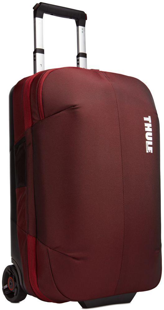 Сумка дорожная Thule Subterra Rolling, цвет: темно-бордовый, 36 л3203448Дорожная сумка Thule Subterra Rolling - стильный и надежный чемодан на двух колесах с прижимной панелью, которая позволяет увеличить пространство, уплотняя сложенную одежду, но не сминая ее. Особенности: - Вместительные отделения, раздельное хранение одежды (например, чистой и грязной) за счет внутренней прижимной панели. - Крепкие колеса увеличенного размера и телескопические ручки с технологией V-Tubing гарантируют плавное и легкое движение. - Специальные ремни позволяют прикрепить дополнительную походную сумку. Путешествовать будет легче. - Прочный экзоскелет и задняя обшивка из литого поликарбоната обеспечивают надежную защиту во время путешествий. - Верхние, нижние и боковые ручки дают возможность удобно поднимать и размещать багаж на багажных полках. - Соответствует требованиям к ручной клади в большинстве авиакомпаний. - Главное отделение имеет отсеки. Это позволит раздельно хранить чистое и грязное, мокрое и сухое, деловое и повседневное. - Прочные, водонепроницаемые материалы обеспечат сохранность багажа от влаги и грязи. - Сетчатый карман с молнией для быстрого доступа к ключам, кошельку и другим мелким предметам. - Карман для идентификационной карточки, чтобы облегчить поиск багажа. Размер: 20 x 35 x 55 см.