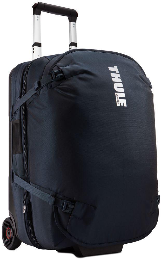 Сумка дорожная Thule Subterra Duffel, цвет: темно-синий, 56 л3203450Багажная сумка «три в одном» легко разделяется на два независимых отделения для переноски, отвечающих требованиям к багажу. Крепкие колеса увеличенного размера и телескопические ручки с технологией V-Tubing гарантируют плавное и легкое движение. Специальные ремни позволяют прикрепить дополнительную походную сумку. Путешествовать будет легче. Прочный экзоскелет и задняя обшивка из литого поликарбоната обеспечивают надежную защиту во время путешествий. Верхние, нижние и боковые ручки дают возможность удобно поднимать и размещать багаж на багажных полках. Сетчатый карман с молнией для быстрого доступа к ключам, кошельку и другим мелким предметам. Размер сумки: 36 x 37 x 55 см.