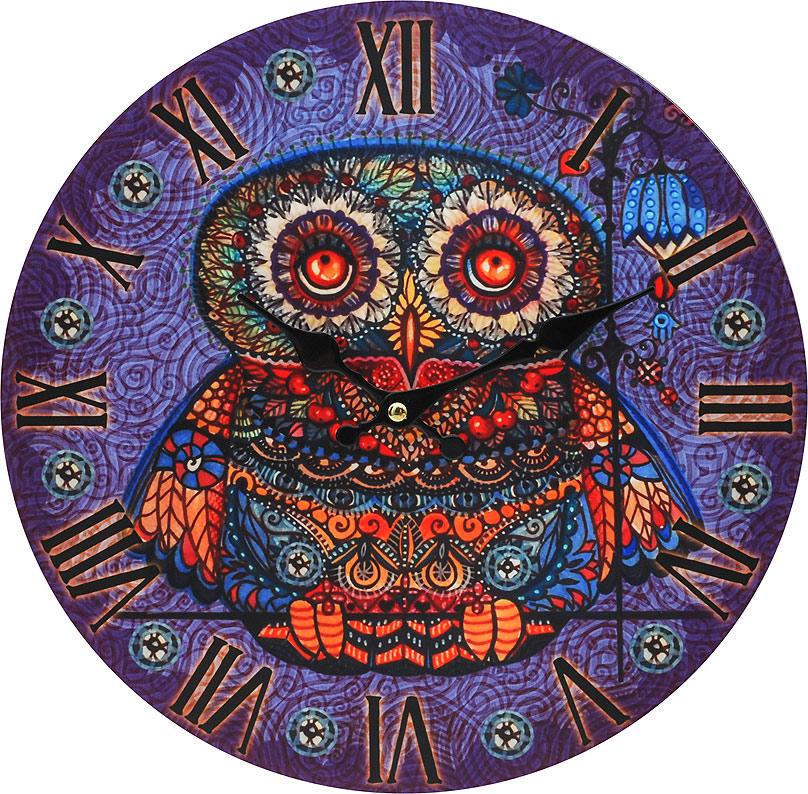 Часы настенные Белоснежка Волшебная сова, диаметр 34 см001-CLЧасы настенные Белоснежка станут изюминкой в дизайне интерьера вашего дома. Открытый циферблат выполнен из листа оргалита с декоративным покрытием. Часы имеют две стрелки – часовую и минутную. Часовой механизм сзади закрыт пластиковым корпусом. Предусмотрено отверстие для крепления на стену. Питание от одной батарейки стандарта АА (в комплект не входит).Диаметр часов: 34 см.
