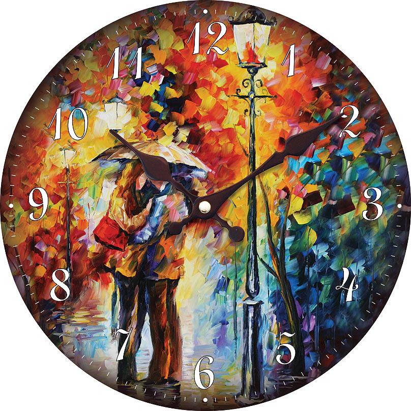 Часы настенные Белоснежка Поцелуй под дождем, диаметр 34 см004-CLЧасы настенные Белоснежка станут изюминкой в дизайне интерьера вашего дома. Открытый циферблат выполнен из листа оргалита с декоративным покрытием. Часы имеют две стрелки – часовую и минутную. Часовой механизм сзади закрыт пластиковым корпусом. Предусмотрено отверстие для крепления на стену.Питание от одной батарейки стандарта АА (в комплект не входит). Диаметр часов: 34 см.