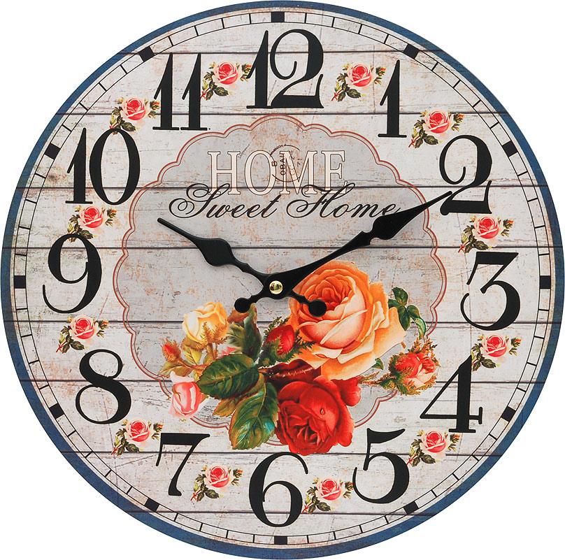 Часы настенные Белоснежка Любимый дом, диаметр 34 см110-CLЧасы настенные Белоснежка станут изюминкой в дизайне интерьера вашего дома. Открытый циферблат выполнен из листа оргалита с декоративным покрытием. Часы имеют две стрелки – часовую и минутную. Часовой механизм сзади закрыт пластиковым корпусом. Предусмотрено отверстие для крепления на стену. Питание от одной батарейки стандарта АА (в комплект не входит).Диаметр часов: 34 см.